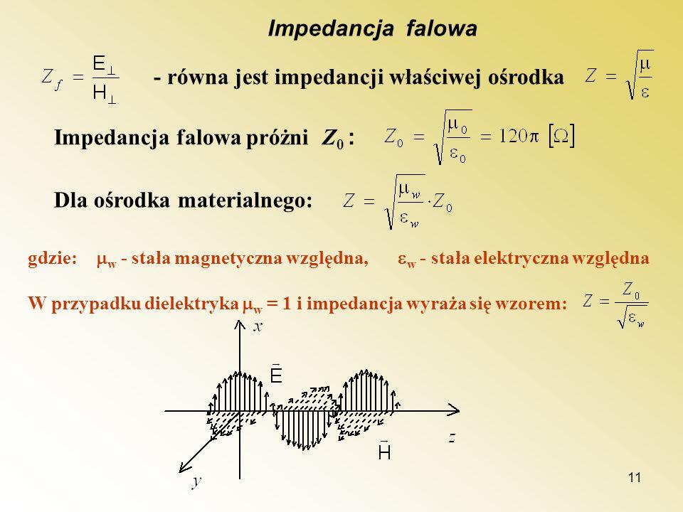 11 Impedancja falowa - równa jest impedancji właściwej ośrodka Impedancja falowa próżni Z 0 : Dla ośrodka materialnego: gdzie: w - stała magnetyczna w