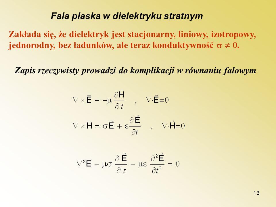 13 Fala płaska w dielektryku stratnym Zakłada się, że dielektryk jest stacjonarny, liniowy, izotropowy, jednorodny, bez ładunków, ale teraz konduktywn