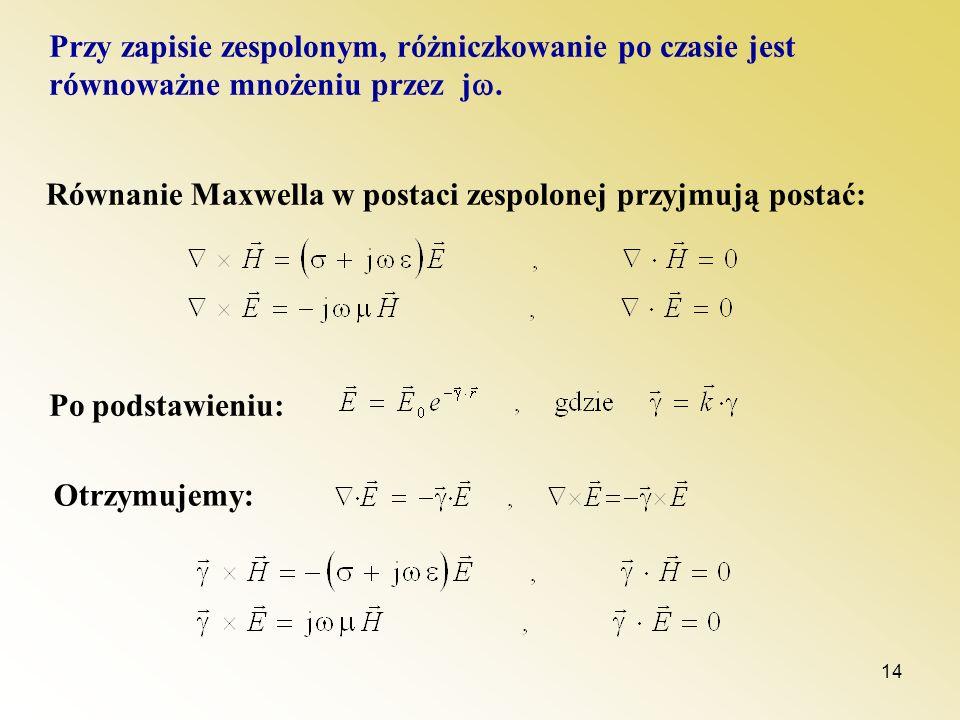 14 Przy zapisie zespolonym, różniczkowanie po czasie jest równoważne mnożeniu przez j. Równanie Maxwella w postaci zespolonej przyjmują postać: Po pod