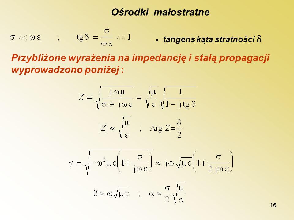 16 Ośrodki małostratne - tangens kąta stratności Przybliżone wyrażenia na impedancję i stałą propagacji wyprowadzono poniżej :