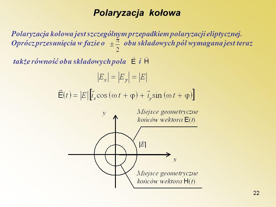 22 Polaryzacja kołowa Polaryzacja kołowa jest szczególnym przepadkiem polaryzacji eliptycznej. Oprócz przesunięcia w fazie o obu składowych pól wymaga