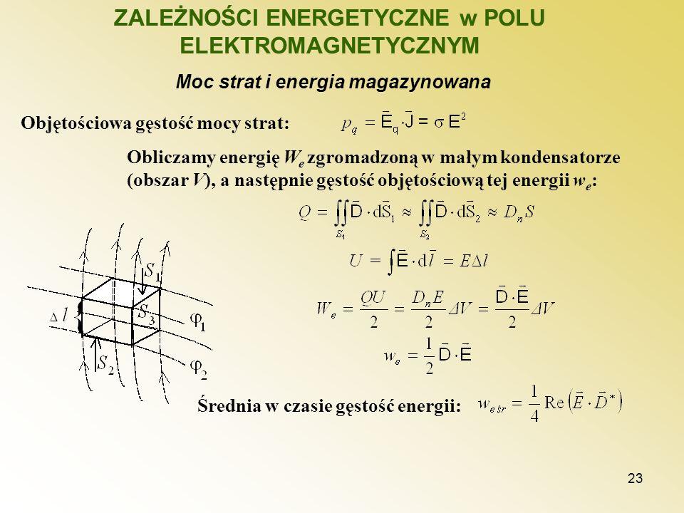 23 ZALEŻNOŚCI ENERGETYCZNE w POLU ELEKTROMAGNETYCZNYM Moc strat i energia magazynowana Objętościowa gęstość mocy strat: Obliczamy energię W e zgromadz