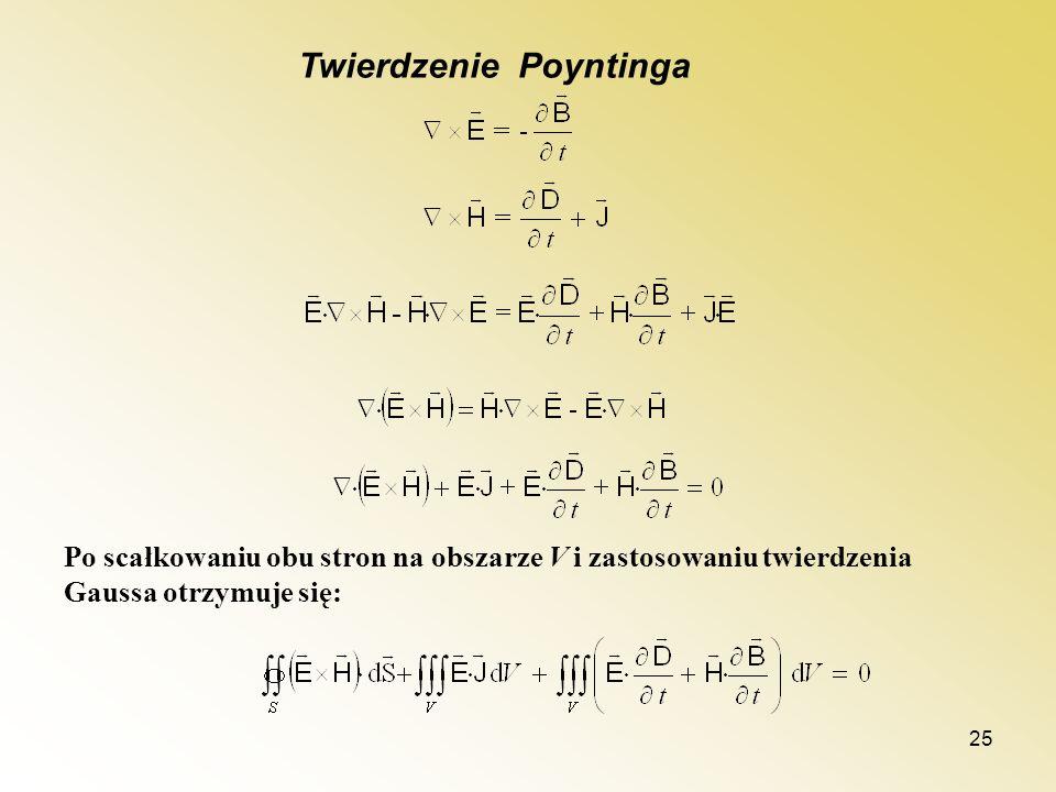 25 Twierdzenie Poyntinga Po scałkowaniu obu stron na obszarze V i zastosowaniu twierdzenia Gaussa otrzymuje się: