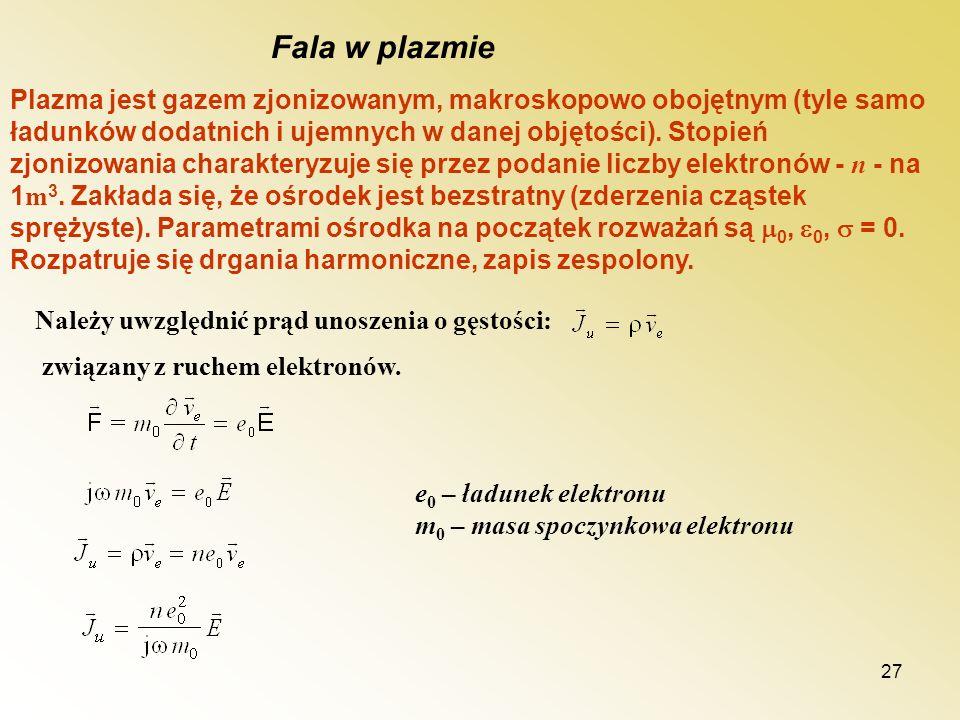27 Plazma jest gazem zjonizowanym, makroskopowo obojętnym (tyle samo ładunków dodatnich i ujemnych w danej objętości). Stopień zjonizowania charaktery