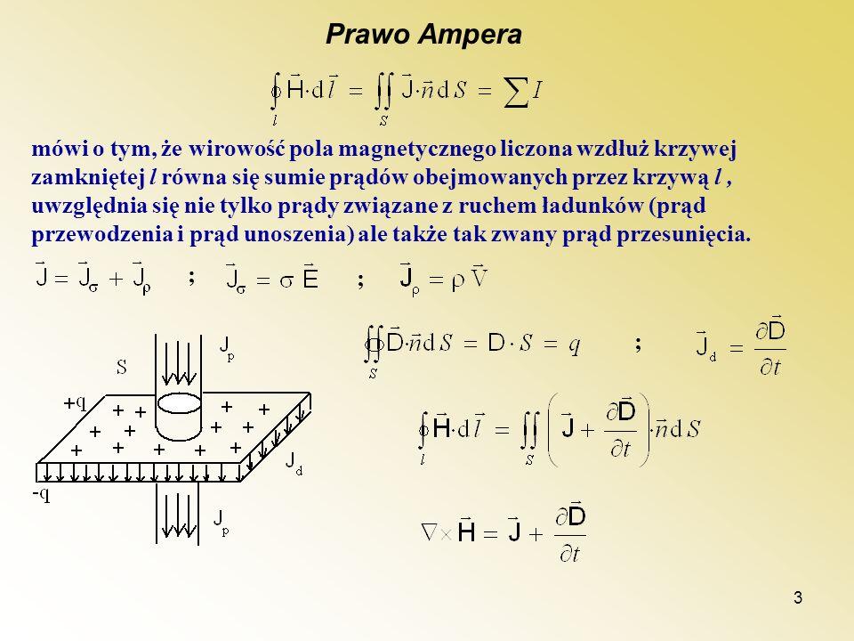 3 Prawo Ampera mówi o tym, że wirowość pola magnetycznego liczona wzdłuż krzywej zamkniętej l równa się sumie prądów obejmowanych przez krzywą l, uwzg