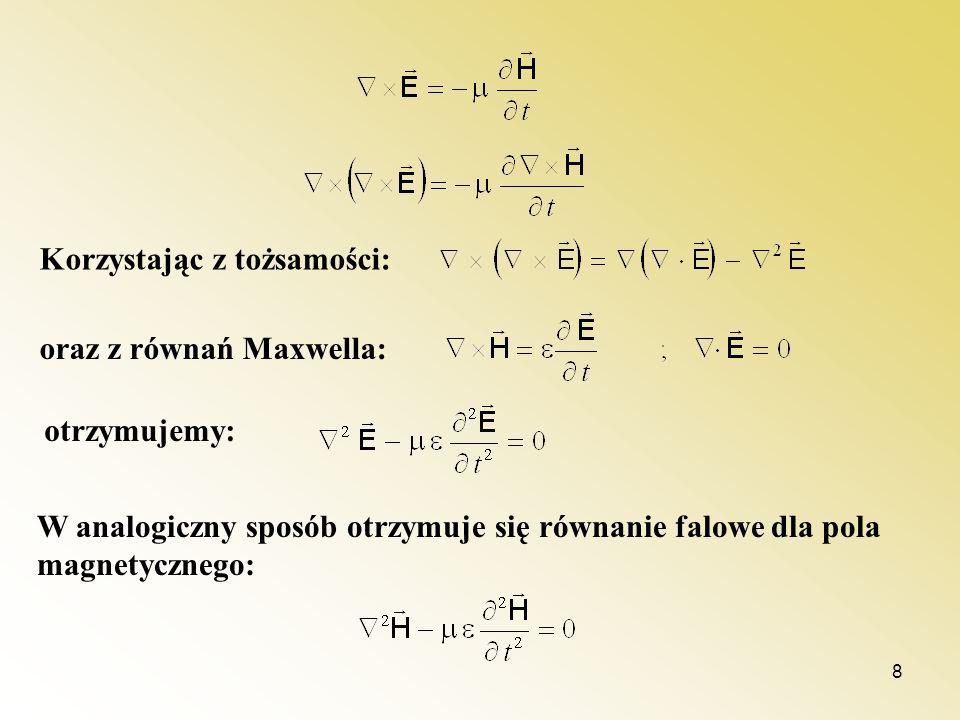 8 Korzystając z tożsamości: oraz z równań Maxwella: otrzymujemy: W analogiczny sposób otrzymuje się równanie falowe dla pola magnetycznego: