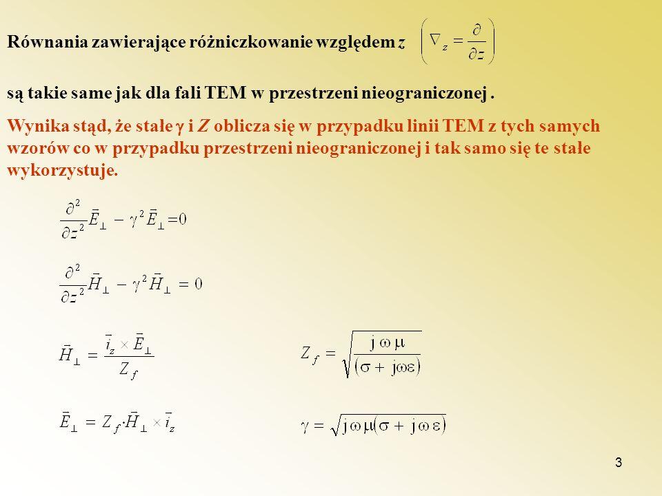 3 Równania zawierające różniczkowanie względem z są takie same jak dla fali TEM w przestrzeni nieograniczonej. Wynika stąd, że stałe i Z oblicza się w