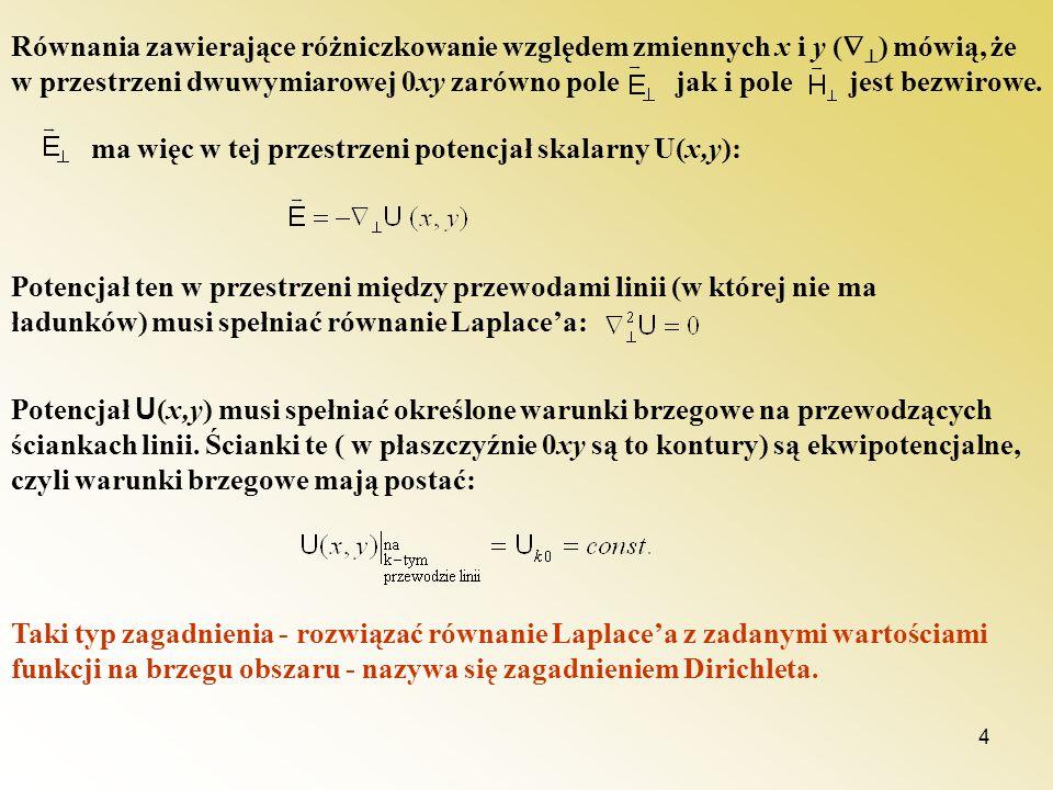 4 Równania zawierające różniczkowanie względem zmiennych x i y ( ) mówią, że w przestrzeni dwuwymiarowej 0xy zarówno pole jak i pole jest bezwirowe. m