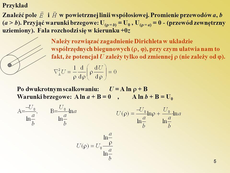 5 Znaleźć pole i w powietrznej linii współosiowej. Promienie przewodów a, b (a > b). Przyjąć warunki brzegowe: U ( = b) = U 0, U ( = a) = 0 - (przewód