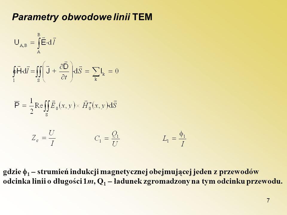 7 Parametry obwodowe linii TEM gdzie 1 – strumień indukcji magnetycznej obejmującej jeden z przewodów odcinka linii o długości 1m, Q 1 – ładunek zgrom