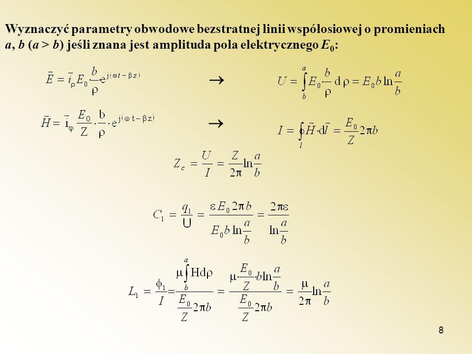 8 Wyznaczyć parametry obwodowe bezstratnej linii współosiowej o promieniach a, b (a > b) jeśli znana jest amplituda pola elektrycznego E 0 :