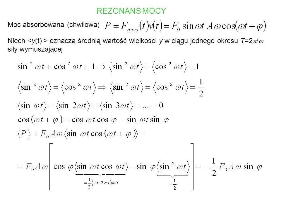Moc absorbowana jest maksymalna, gdy Dla częstości rezonansowej drgania ustalone są przesunięte w fazie o /2 (czyli o 1/4 okresu) względem siły wymuszającej.