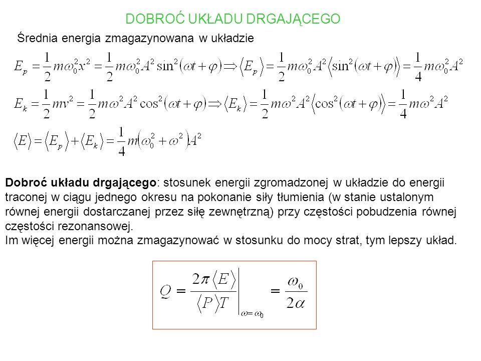 Przykład: drgania w obwodzie RLC z wymuszeniem II prawo Kirchhoffa I - natężenie prądu, q - ładunek na kondensatorze Częstość drgań własnych obwodu RLC Dobroć