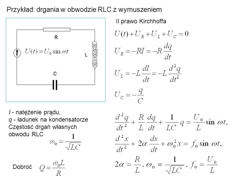 Przykład: drgania w obwodzie RLC z wymuszeniem II prawo Kirchhoffa I - natężenie prądu, q - ładunek na kondensatorze Częstość drgań własnych obwodu RL