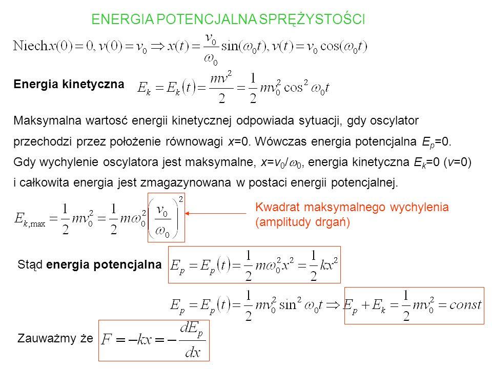 DRGANIA TŁUMIONE OSCYLATORA HARMONICZNEGO Siła tłumiąca Równanie ruchu Przypadek słabego tłumienia Drgania wokół położenia równowagi o malejącej wykładniczo amplitudzie, z częstoscią mniejszą od częstości drgań własnych 0 Przypadek silnego tłumienia Wykładniczy powrót do położenia równowagi, brak drgań Tłumienie krytyczne Wolniejszy niż wykładniczy powrót do położenia równowagi, brak drgań.