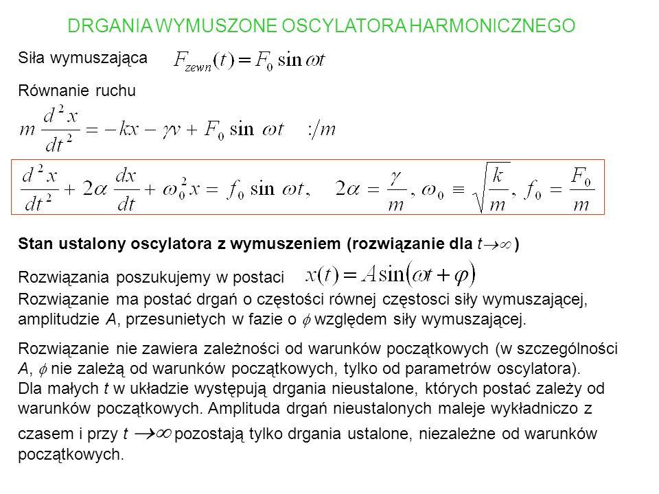 Wstawiając postulowaną postać rozwiązania do równania, otrzymujemy Korzystając ze wzorów na sin( + ), cos( + ) otrzymujemy