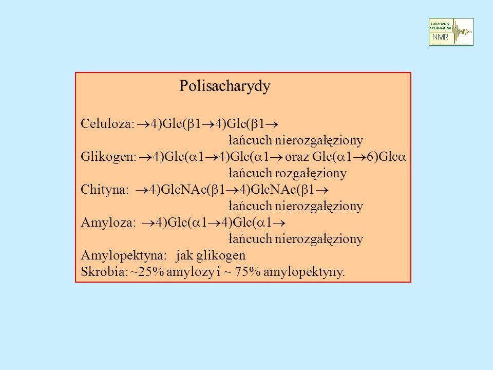 Polisacharydy Celuloza: 4)Glc( 1 4)Glc( 1 łańcuch nierozgałęziony Glikogen: 4)Glc( 1 4)Glc( 1 oraz Glc( 1 6)Glc łańcuch rozgałęziony Chityna: 4)GlcNAc