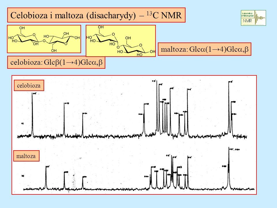 Celobioza i maltoza (disacharydy) – 13 C NMR celobioza: Glc (14)Glc maltoza: Glc (14)Glc celobioza maltoza