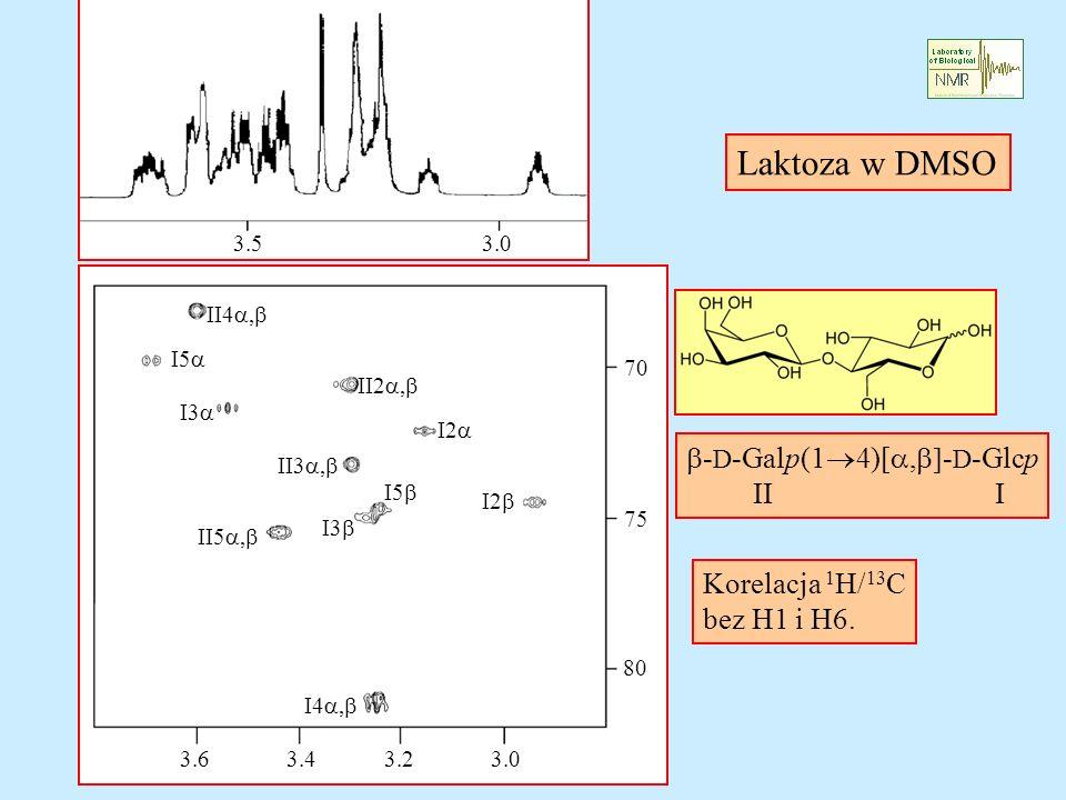 - D -Galp(1 4)[, - D -Glcp II I Laktoza w DMSO Korelacja 1 H/ 13 C bez H1 i H6. 3.03.43.23.6 80 70 II4, I5 I3 II5, I4, I2 II2, II3, I2 I5 I3 3.03.5 75