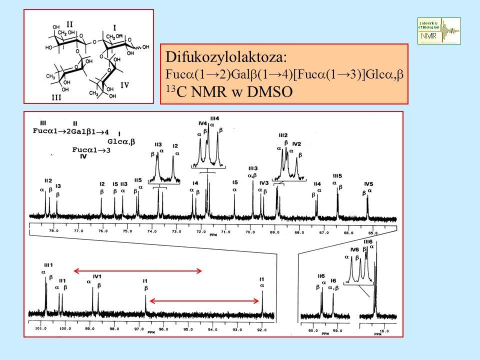 Difukozylolaktoza: Fuc (12)Gal (14)[Fuc (13)]Glc 13 C NMR w DMSO