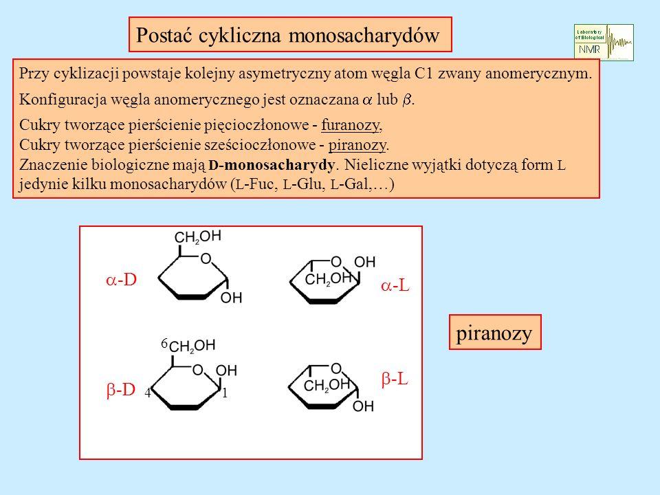 Przy cyklizacji powstaje kolejny asymetryczny atom węgla C1 zwany anomerycznym. Konfiguracja węgla anomerycznego jest oznaczana lub. Cukry tworzące pi