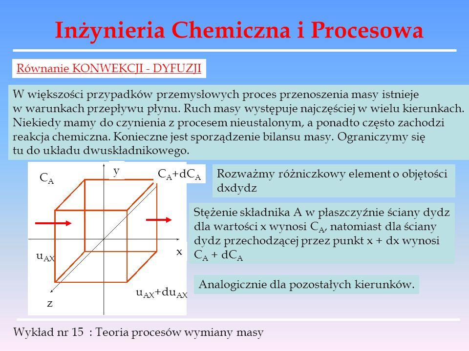 Inżynieria Chemiczna i Procesowa Wykład nr 15 : Teoria procesów wymiany masy Równanie KONWEKCJI - DYFUZJI W większości przypadków przemysłowych proces