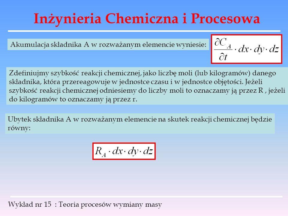 Inżynieria Chemiczna i Procesowa Wykład nr 15 : Teoria procesów wymiany masy Akumulacja składnika A w rozważanym elemencie wyniesie: Zdefiniujmy szybk