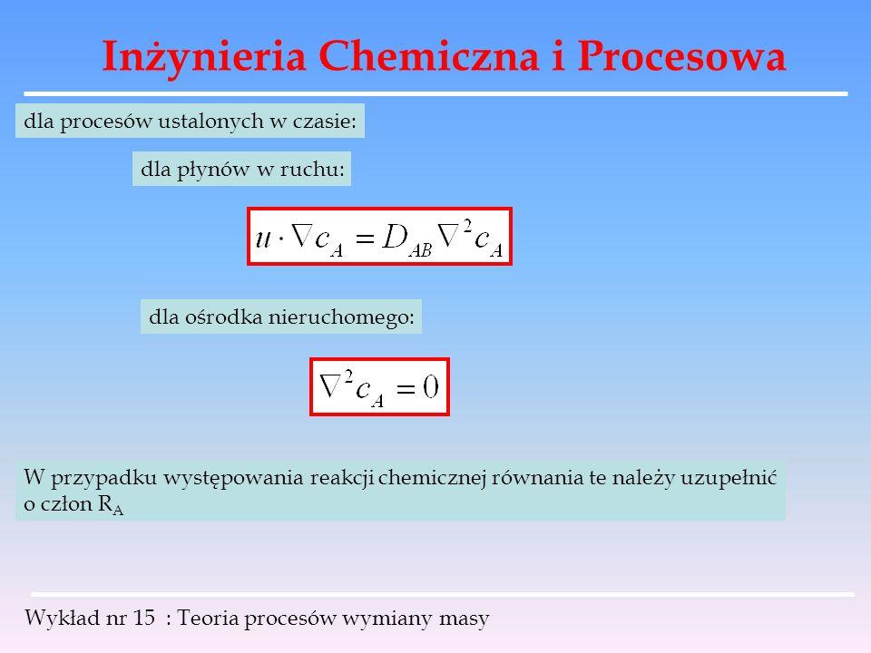 Inżynieria Chemiczna i Procesowa Wykład nr 15 : Teoria procesów wymiany masy dla procesów ustalonych w czasie: dla płynów w ruchu: dla ośrodka nieruch
