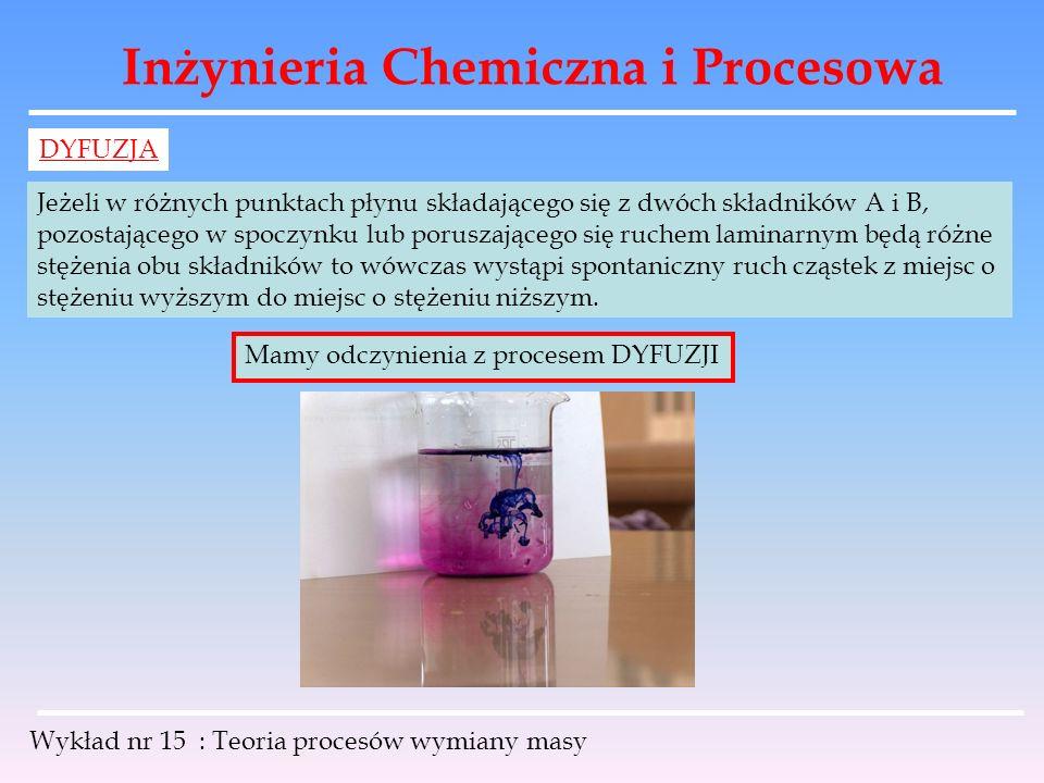 Inżynieria Chemiczna i Procesowa Wykład nr 15 : Teoria procesów wymiany masy DYFUZJA Jeżeli w różnych punktach płynu składającego się z dwóch składnik