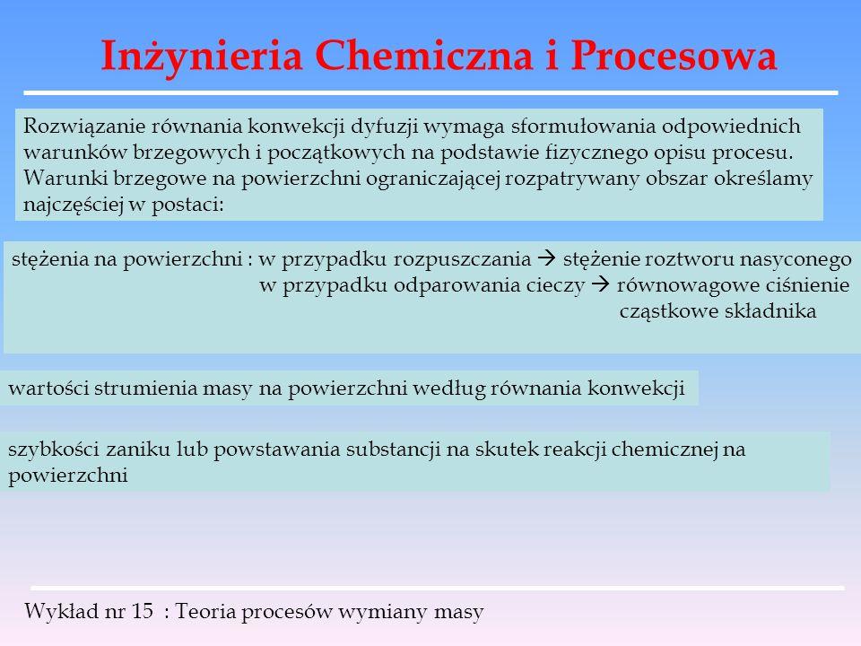Inżynieria Chemiczna i Procesowa Wykład nr 15 : Teoria procesów wymiany masy Rozwiązanie równania konwekcji dyfuzji wymaga sformułowania odpowiednich