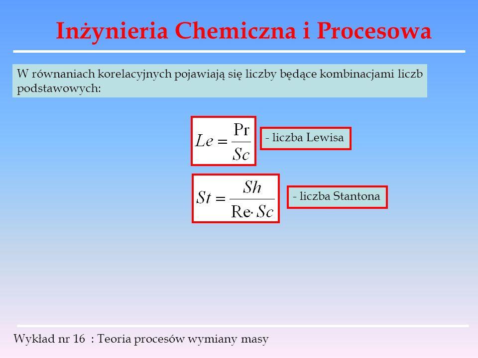 Inżynieria Chemiczna i Procesowa Wykład nr 16 : Teoria procesów wymiany masy W równaniach korelacyjnych pojawiają się liczby będące kombinacjami liczb