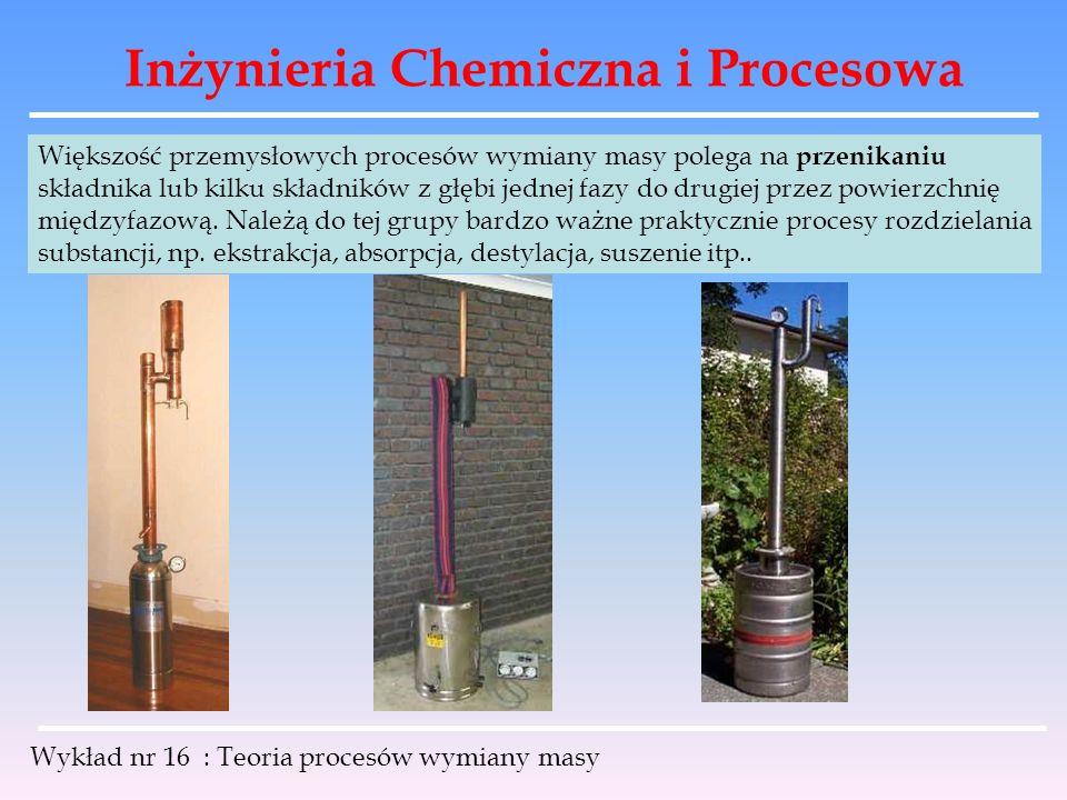Inżynieria Chemiczna i Procesowa Wykład nr 16 : Teoria procesów wymiany masy Większość przemysłowych procesów wymiany masy polega na przenikaniu skład