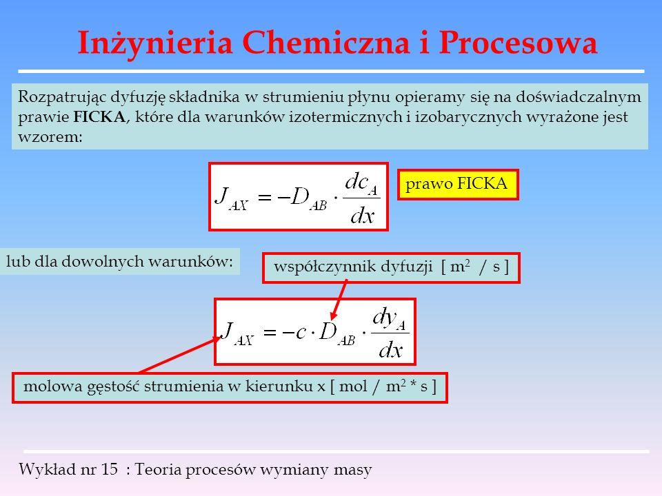 Inżynieria Chemiczna i Procesowa Wykład nr 15 : Teoria procesów wymiany masy Rozpatrując dyfuzję składnika w strumieniu płynu opieramy się na doświadc