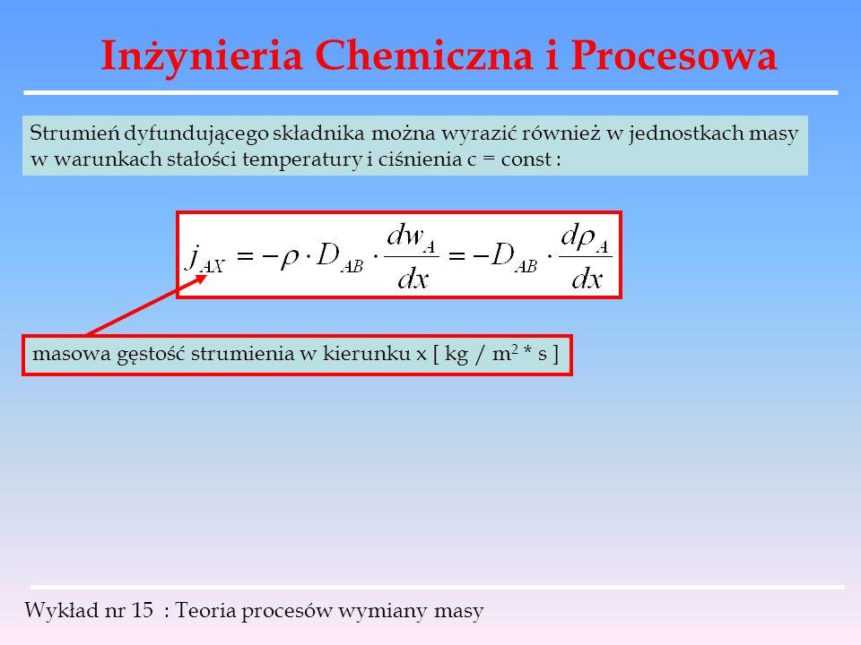 Inżynieria Chemiczna i Procesowa Wykład nr 15 : Teoria procesów wymiany masy Strumień dyfundującego składnika można wyrazić również w jednostkach masy