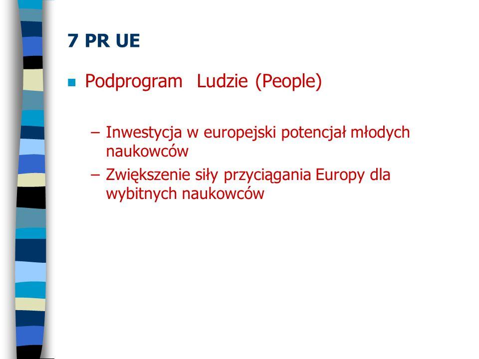 7 PR UE n Podprogram Ludzie (People) –Inwestycja w europejski potencjał młodych naukowców –Zwiększenie siły przyciągania Europy dla wybitnych naukowcó