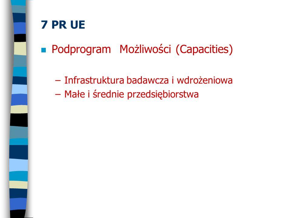 7 PR UE n Podprogram Możliwości (Capacities) –Infrastruktura badawcza i wdrożeniowa –Małe i średnie przedsiębiorstwa