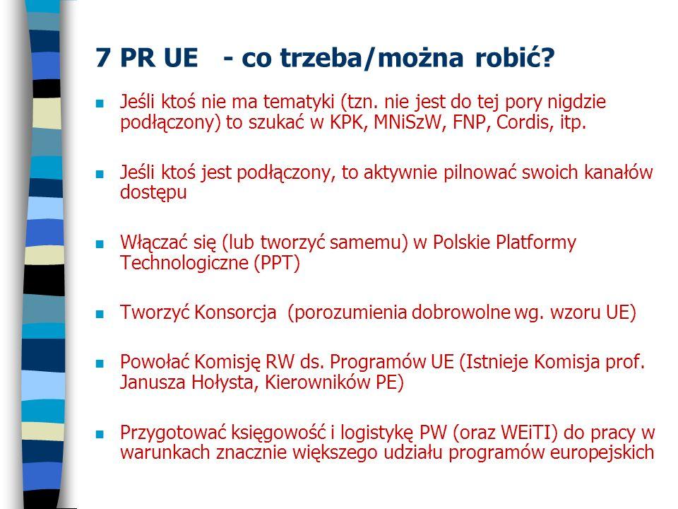 7 PR UE - co trzeba/można robić? n Jeśli ktoś nie ma tematyki (tzn. nie jest do tej pory nigdzie podłączony) to szukać w KPK, MNiSzW, FNP, Cordis, itp