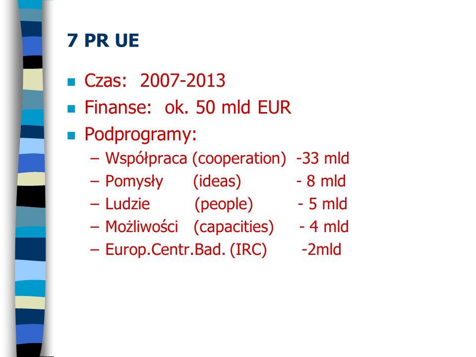 7 PR UE n Podprogram Współpraca (Cooperation) –CR, CP, NoE, Joint Technolo Init., I3, ERA-Net –Obszary tematyczne – żywność, ICT, nano, energia, środowisko, transport, kosmos, bezpieczeństwo, … –ICT (10mld EUR), sieci, robotyka, … –Konkursy XII/2006-I/2007 potem jesień 2007