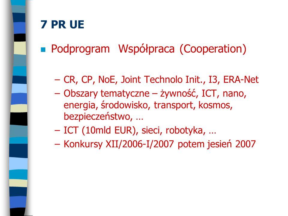 7 PR UE n Podprogram Współpraca (Cooperation) –CR, CP, NoE, Joint Technolo Init., I3, ERA-Net –Obszary tematyczne – żywność, ICT, nano, energia, środo