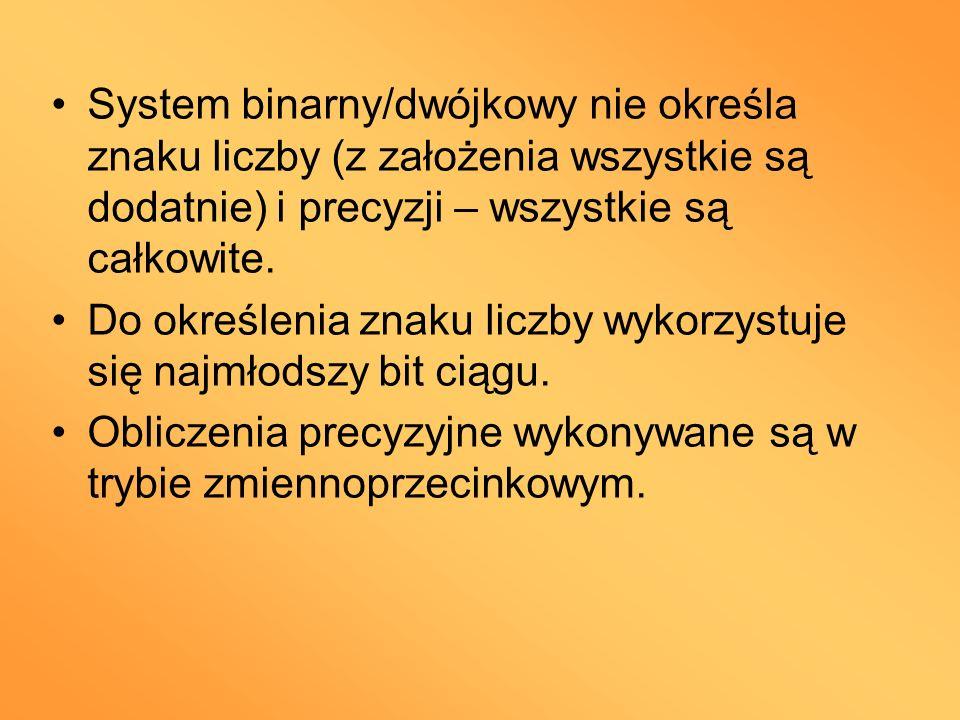 System binarny/dwójkowy nie określa znaku liczby (z założenia wszystkie są dodatnie) i precyzji – wszystkie są całkowite. Do określenia znaku liczby w