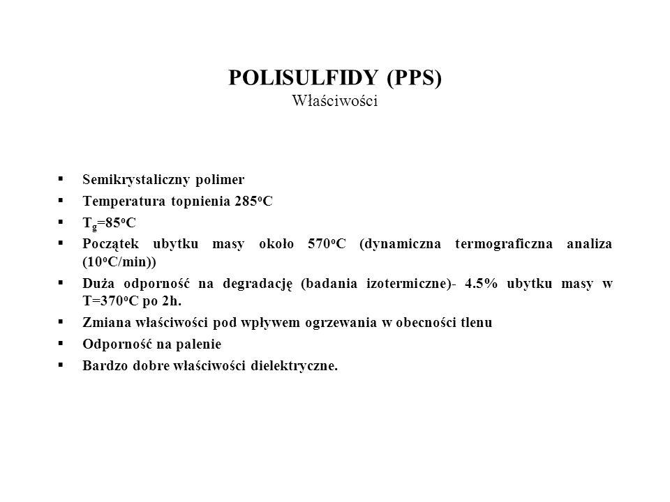 POLISULFIDY (PPS) Właściwości Semikrystaliczny polimer Temperatura topnienia 285 o C T g =85 o C Początek ubytku masy około 570 o C (dynamiczna termog