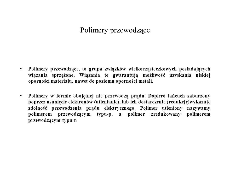 Polimery przewodzące Polimery przewodzące, to grupa związków wielkocząsteczkowych posiadających wiązania sprzężone. Wiązania te gwarantują możliwość u