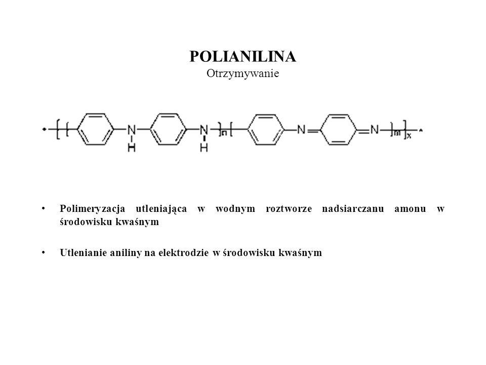 POLIANILINA Otrzymywanie Polimeryzacja utleniająca w wodnym roztworze nadsiarczanu amonu w środowisku kwaśnym Utlenianie aniliny na elektrodzie w środ