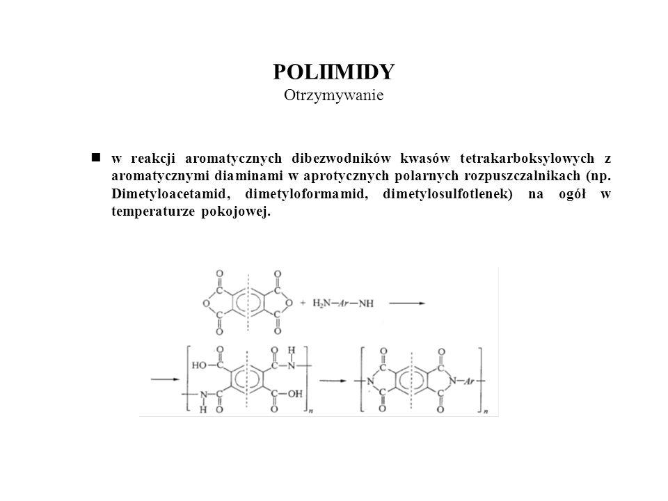 POLIIMIDY Otrzymywanie W reakcji dibezwodników kwasów tetrakaboksylowych z diizocyjanianami aromatycznymi w obecności katalitycznie działających substancji (np.