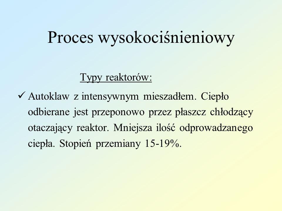 Proces wysokociśnieniowy Typy reaktorów: Autoklaw z intensywnym mieszadłem. Ciepło odbierane jest przeponowo przez płaszcz chłodzący otaczający reakto