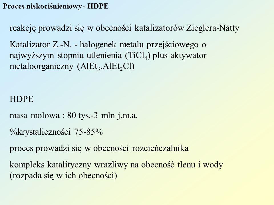 Proces niskociśnieniowy - HDPE reakcję prowadzi się w obecności katalizatorów Zieglera-Natty Katalizator Z.-N. - halogenek metalu przejściowego o najw