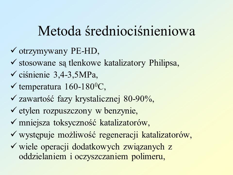 Metoda średniociśnieniowa otrzymywany PE-HD, stosowane są tlenkowe katalizatory Philipsa, ciśnienie 3,4-3,5MPa, temperatura 160-180 0 C, zawartość faz