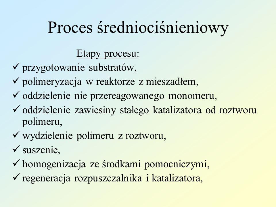 Proces średniociśnieniowy Etapy procesu: przygotowanie substratów, polimeryzacja w reaktorze z mieszadłem, oddzielenie nie przereagowanego monomeru, o