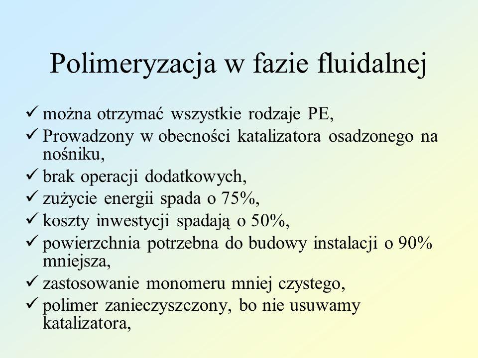 Polimeryzacja w fazie fluidalnej można otrzymać wszystkie rodzaje PE, Prowadzony w obecności katalizatora osadzonego na nośniku, brak operacji dodatko