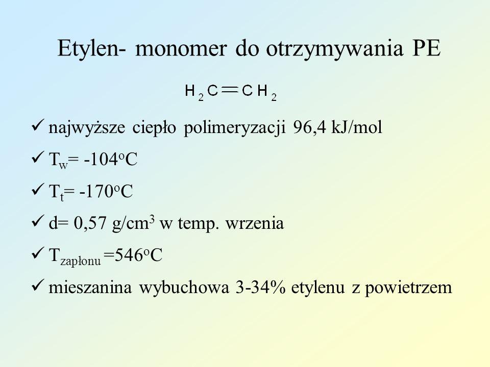 Etylen- monomer do otrzymywania PE najwyższe ciepło polimeryzacji 96,4 kJ/mol T w = -104 o C T t = -170 o C d= 0,57 g/cm 3 w temp. wrzenia T zapłonu =